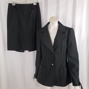 Nanette Lepore Skirt Suit 10 Boho Lace Up Sleeve